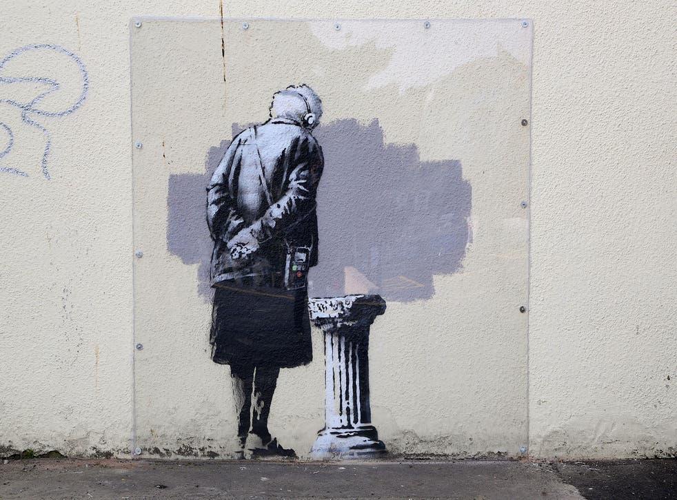The Banksy image in Folkestone before it was vandalised