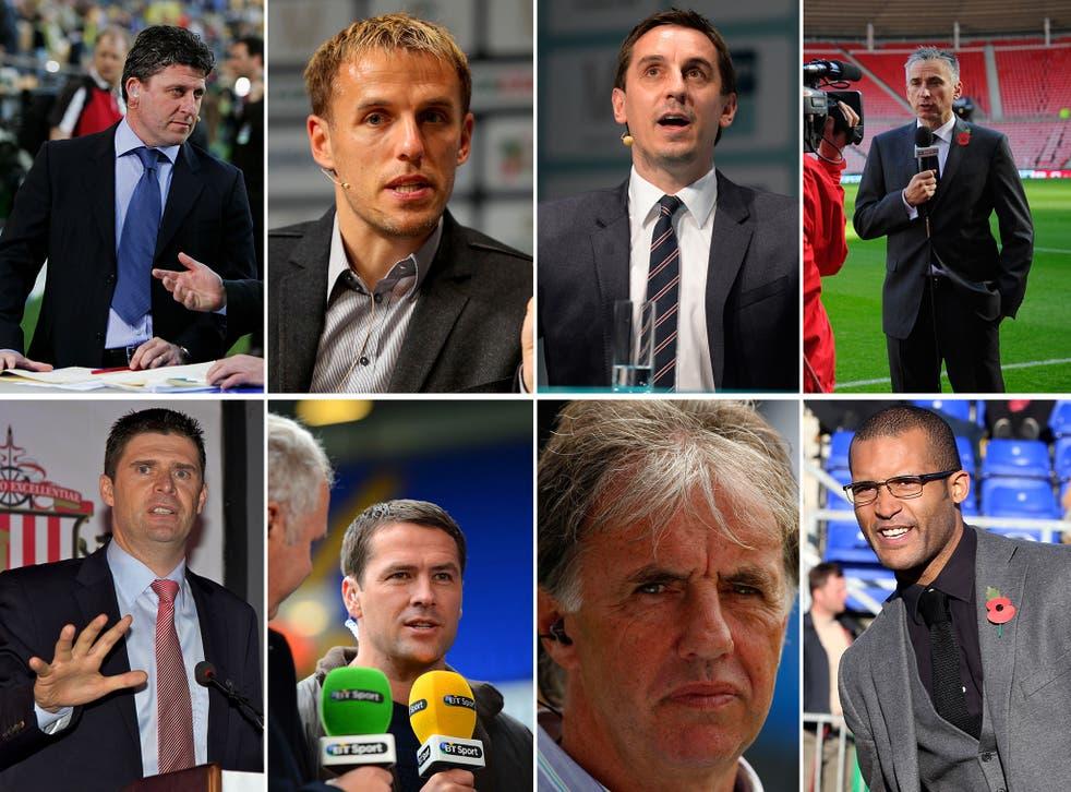 Andy Townsend, Phil Neville, Gary Neville, Alan Smith, Niall Quinn, Michael Owen, Mark Lawrenson and Clarke Carlisle