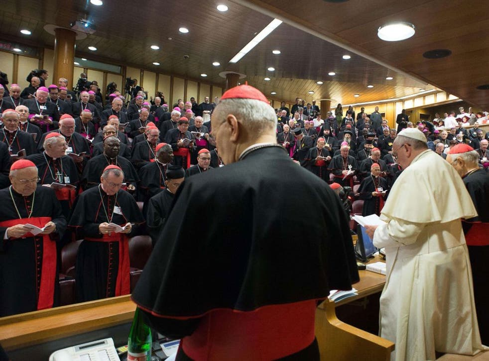 Pope Francis (R) delivering his speech during Monday's extraordinary synod