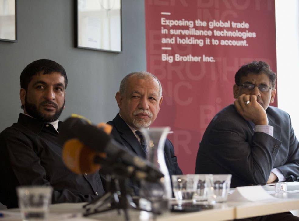 From left: Moosa Abd-Ali Ali, Saeed Al-Shehabi and Jaafar Al Hasabi during the press conference in London
