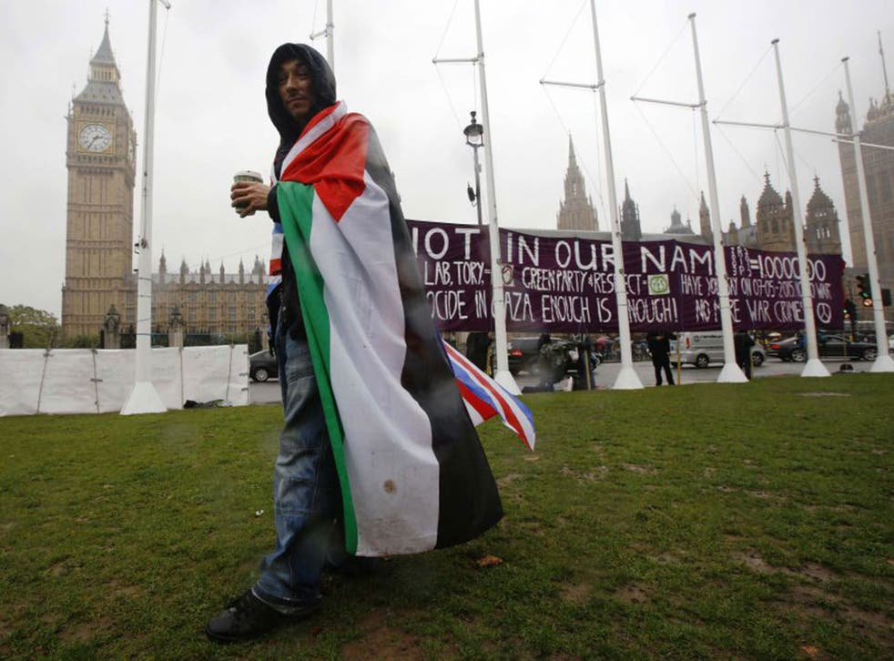 A pro-Palestine demonstration outside Westminster on Monday. Although MPs from all parties ended up in support of the motion to recognise Palestine, Labour was forced to whip its MPs to vote in favour of the resolution