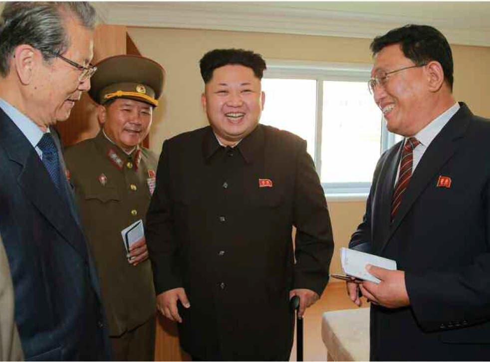 Kim Jong-Un during an inspection tour of a newly-built housing complex in Pyongyang