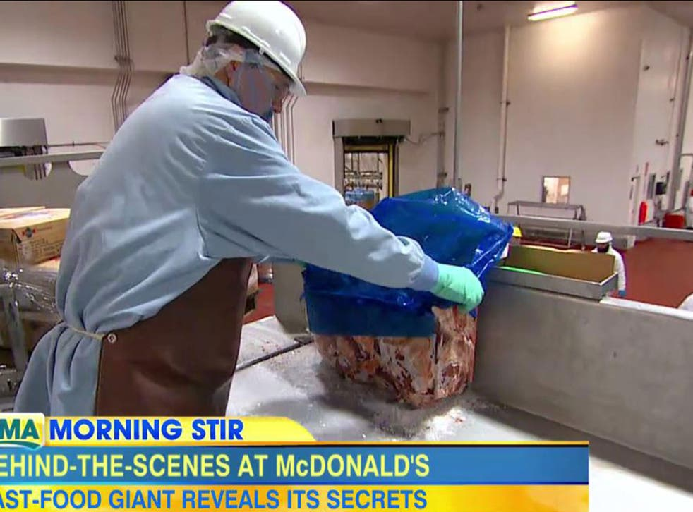 An employee at a McDonald's food plant