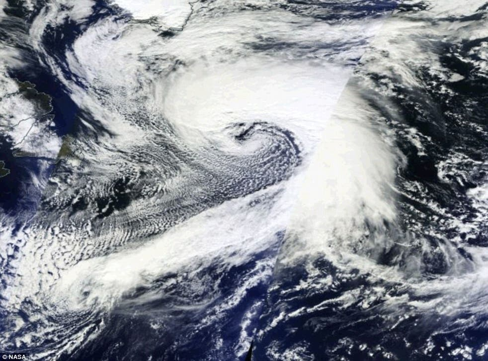 A huge storm system is seen developing across the Atlantic