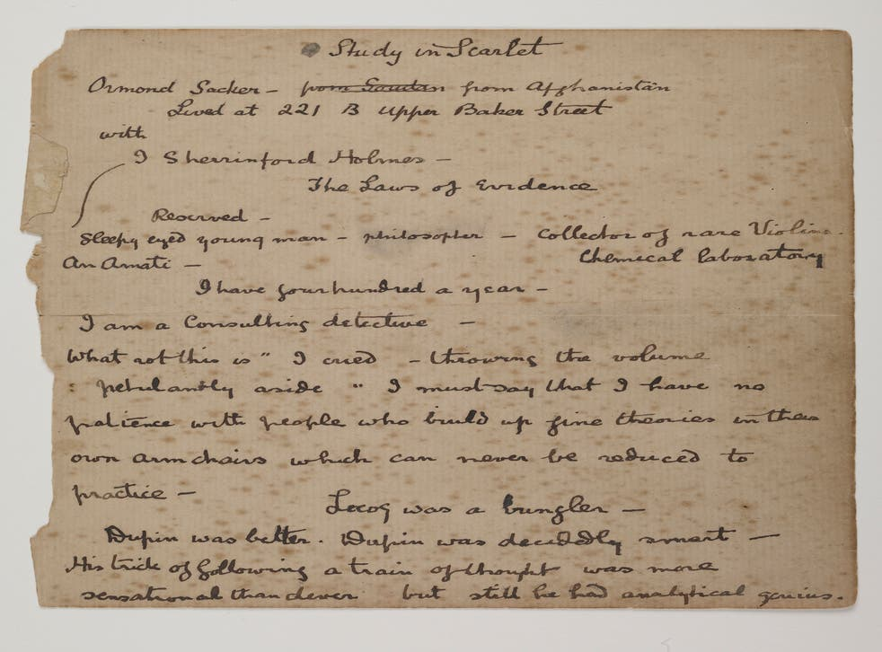 A Study in Scarlet manuscript notes by author Arthur Conan Doyle from 1886