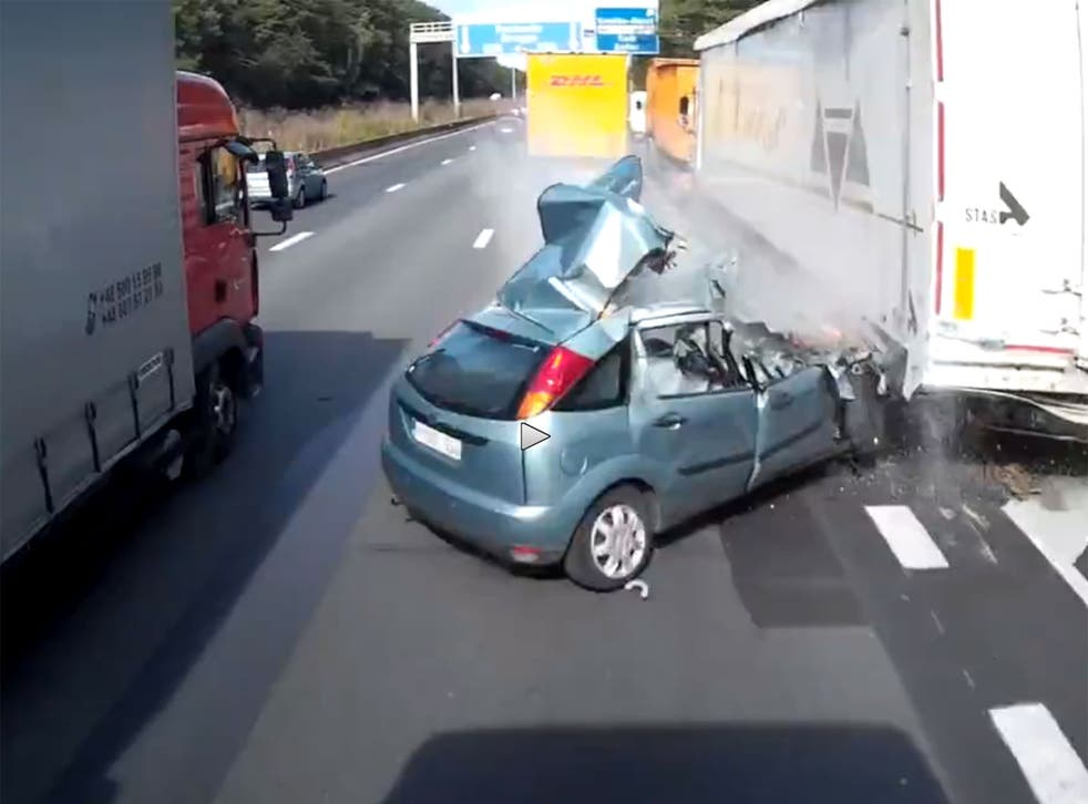 After watching this footage, it is astonishing to believe the driver managed to survive.