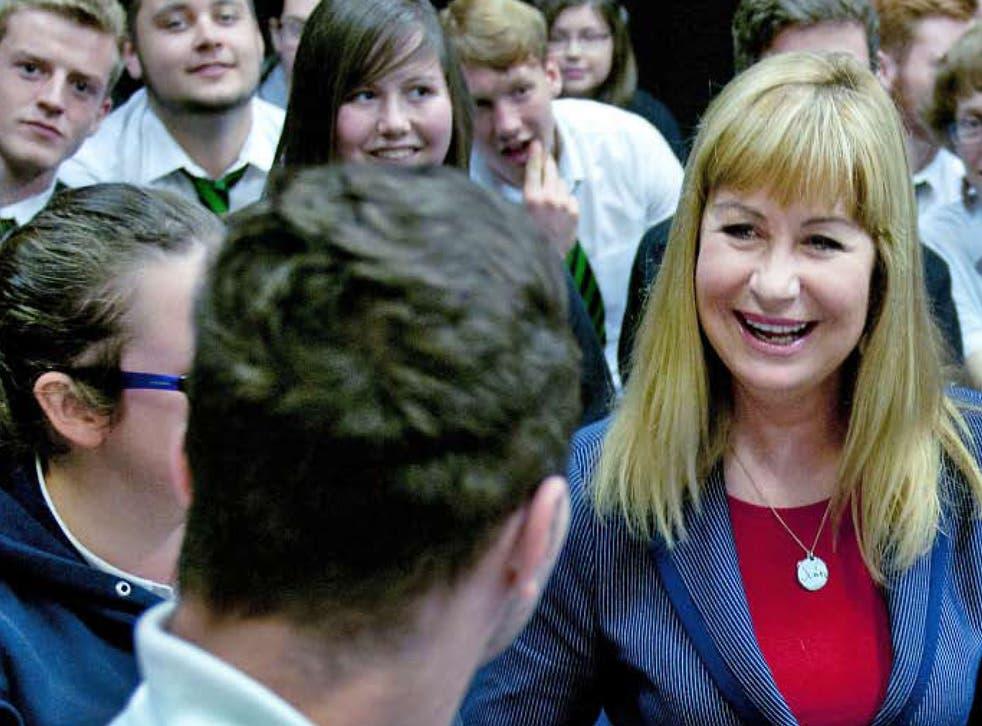 Sian Lloyd visiting her old school,Ysgol Gyfun Ystalyfera Glenn Edwards