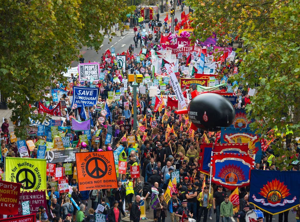 Protesters march through London as part of the TUC 'Britain Needs a Pay Rise' demonstration