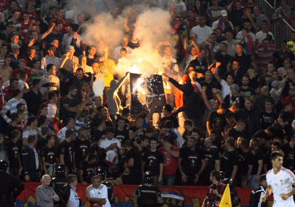 meet 4acfc dc5ad ... The match at Partizan Belgrade s stadium had to be abandoned after a  riot broke out ...