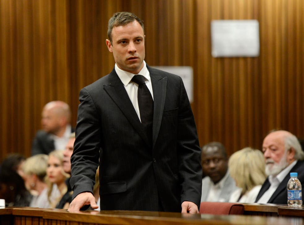 Oscar Pistorius arrives in court on day six of sentencing procedures at the High Court in Pretoria