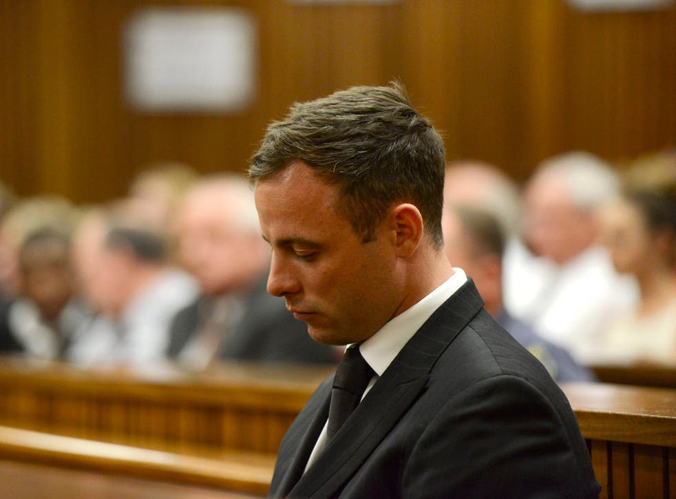 Oscar Pistorius pictured listening to his sentence at the High Court in Pretoria last week