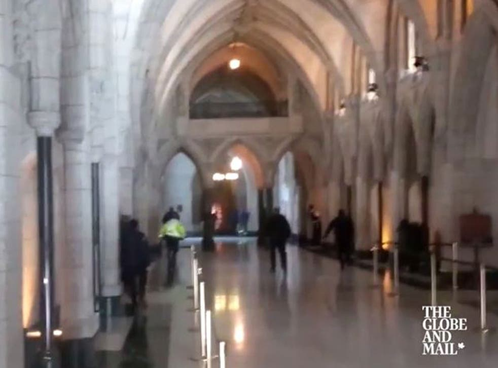 Video footage of the moment shots were fired inside the Parliament building in Ottawa, Canada