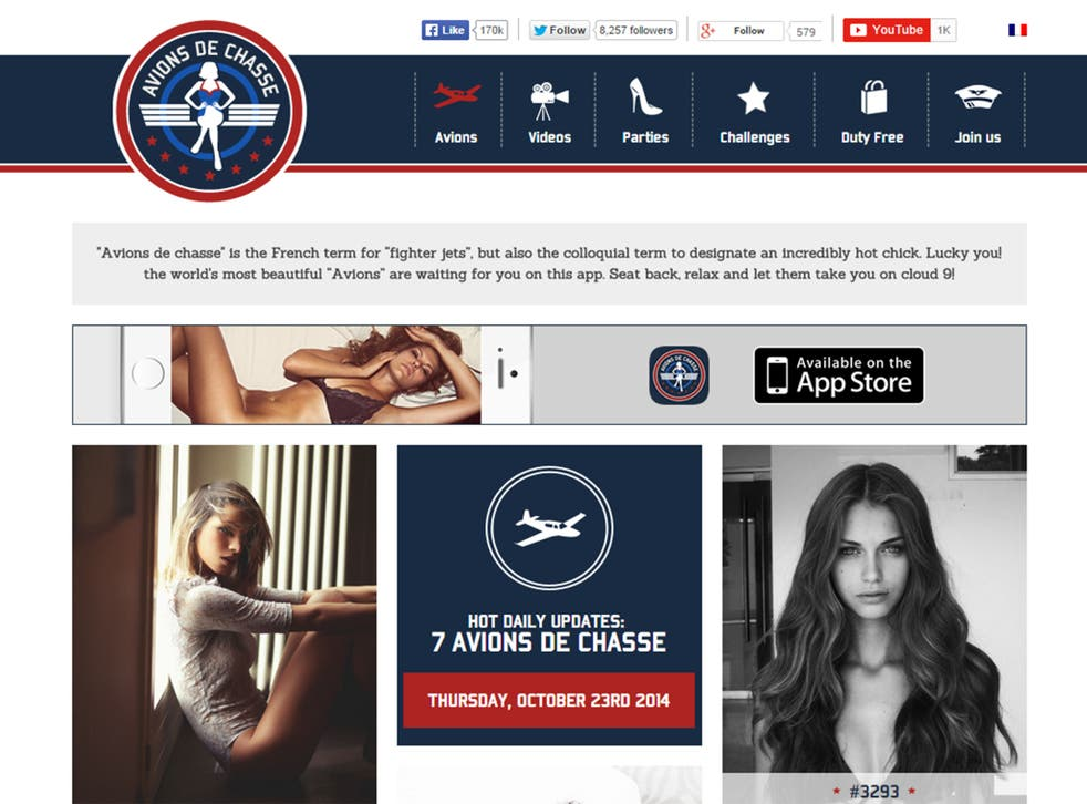 Screengrab showing the English-language version of the Avions de Chasse homepage