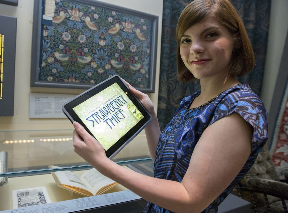 Game Designer in Residence Sophie George with her iPad game inspired by the work of William Morris