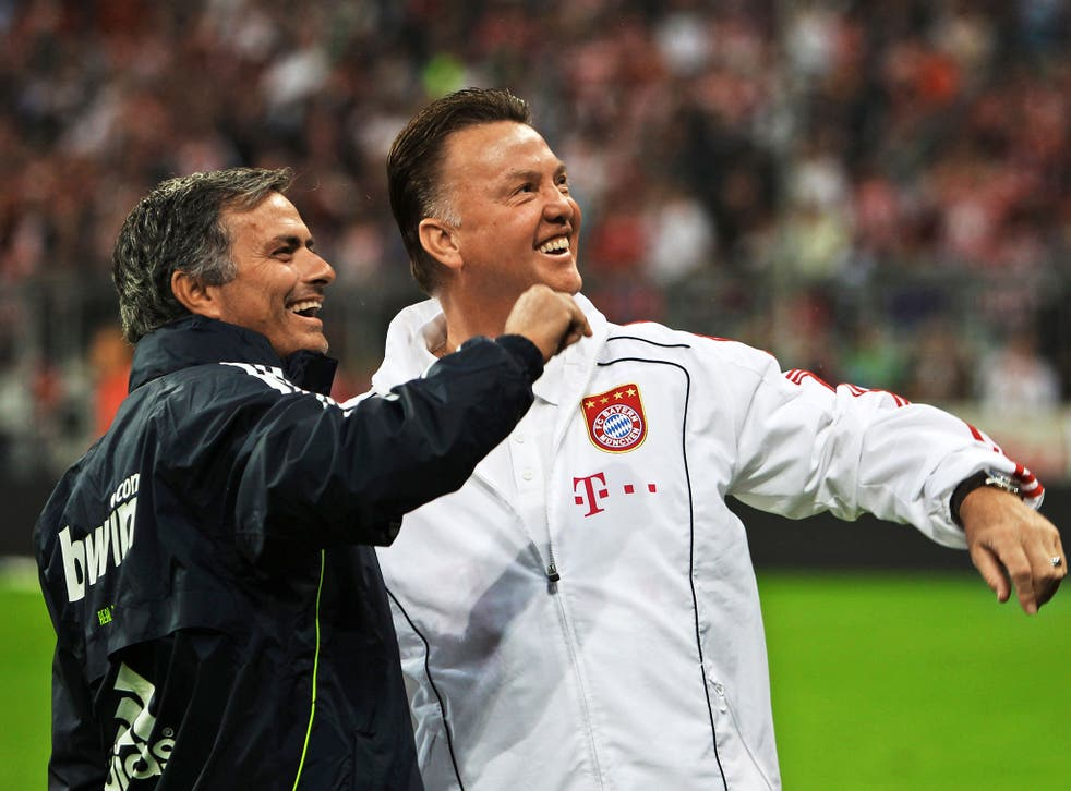 Jose Mourinho (left) and Louis van Gaal go back a long way, having worked together at Barcelona