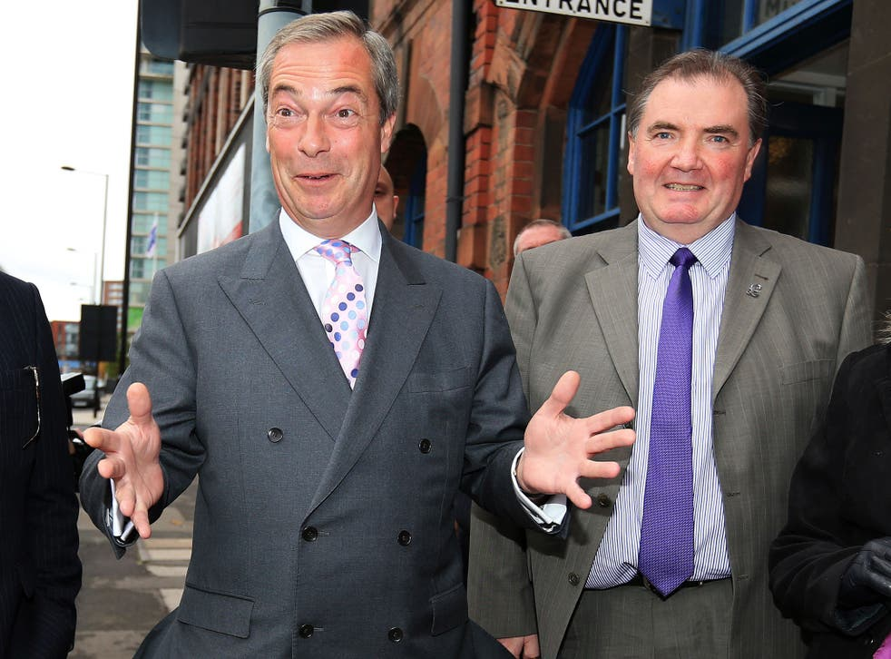 Jack Clarkson, the police commissioner candidate, right, campaigns with the Ukip leader Nigel Farage in Sheffield