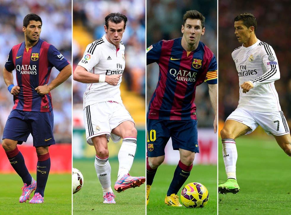 Luis Suarez, Gareth Bale, Lionel Messi and Cristiano Ronaldo