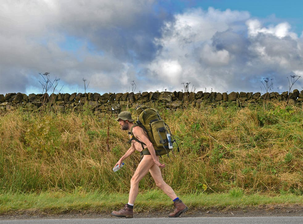 Stephen Gough makes his way south through Peebles in the Scottish Borders, in 2012