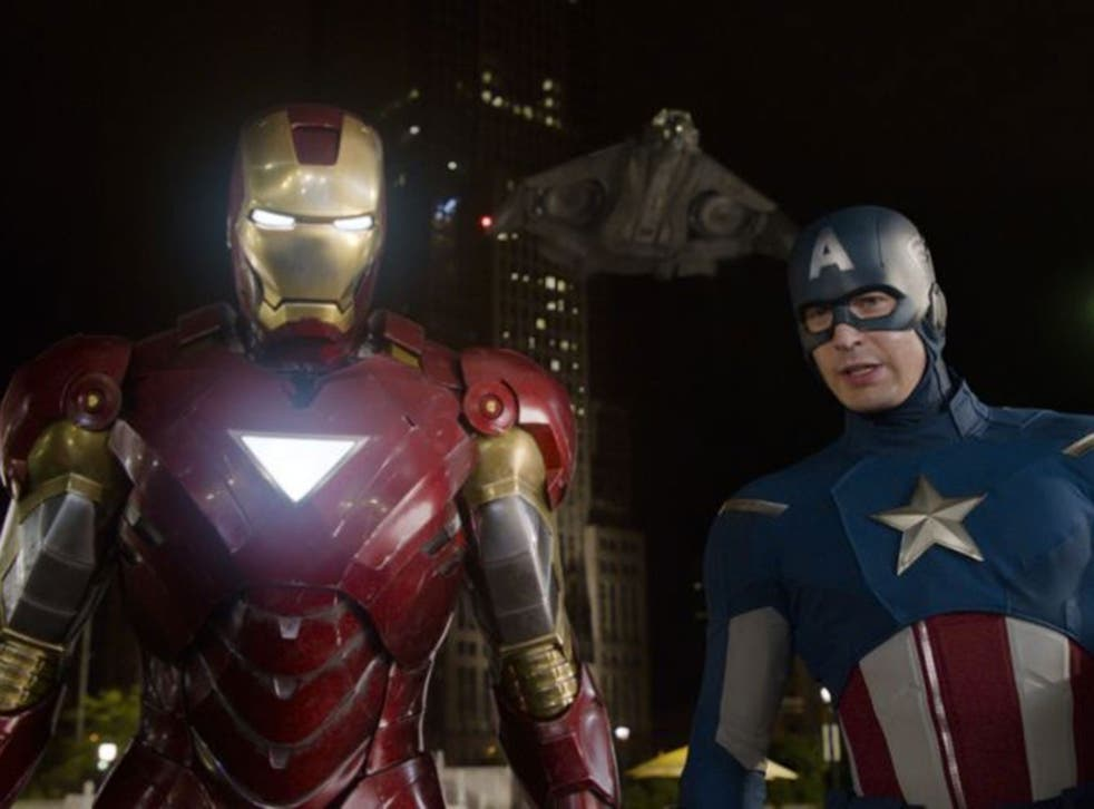 """Iron Man and Captain America in a scene from """"The Avengers"""" ahead of the release of next The Avengers: Age of Ultron"""