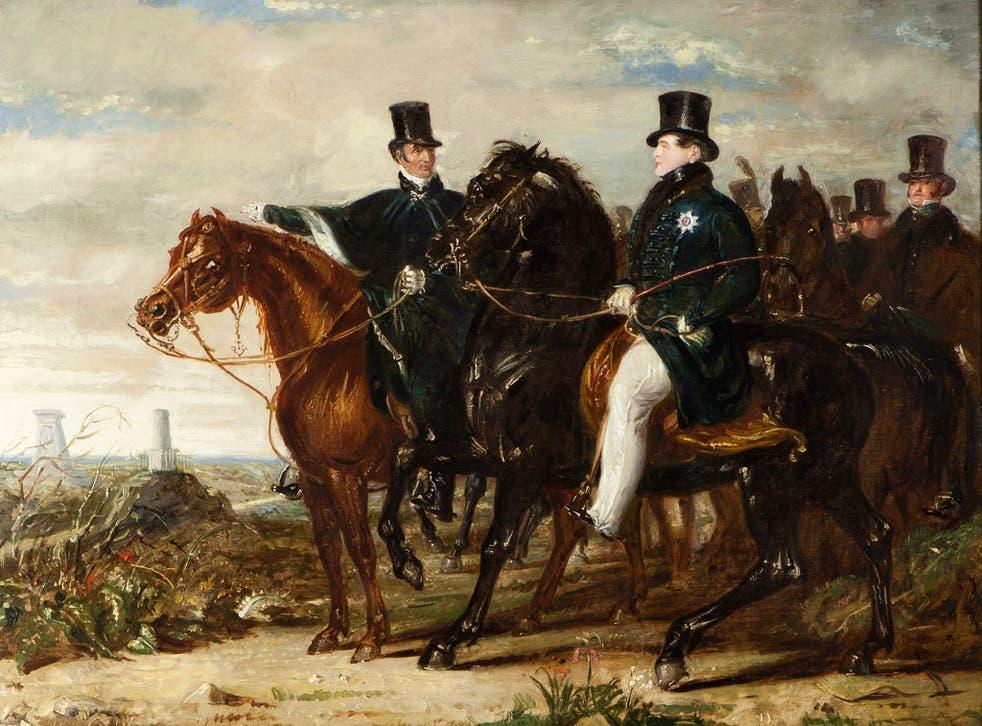 The Duke of Wellington showing the Prince Regent (later George IV) the battlefield of Waterloo by Benjamin Robert Haydon c. 1844
