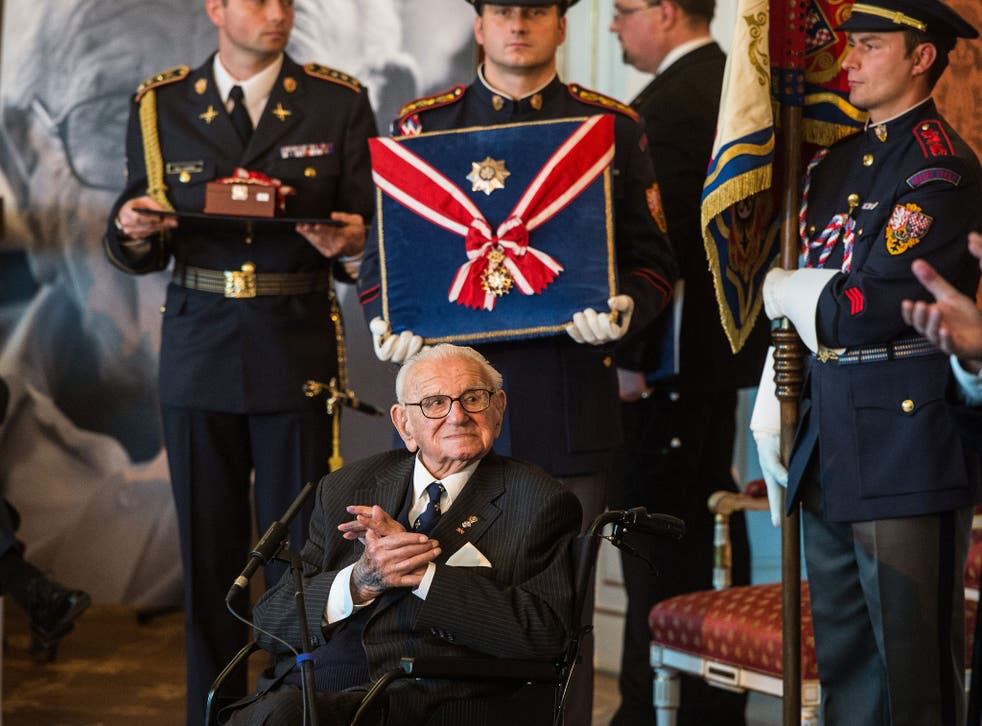 Winton, aged 105, presented with Order of the White Lion by the Czech president in Prague