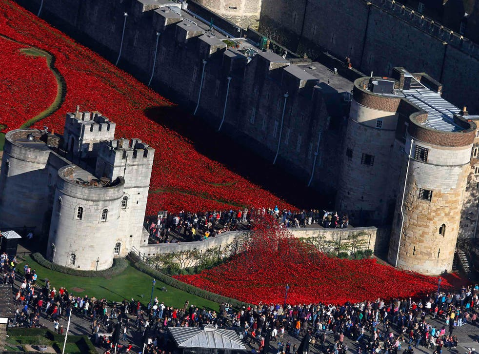 """Crowds gather to see the red ceramic poppies that form part of the art installation """"Blood Swept Lands and Seas of Red"""" at the Tower of London in London"""