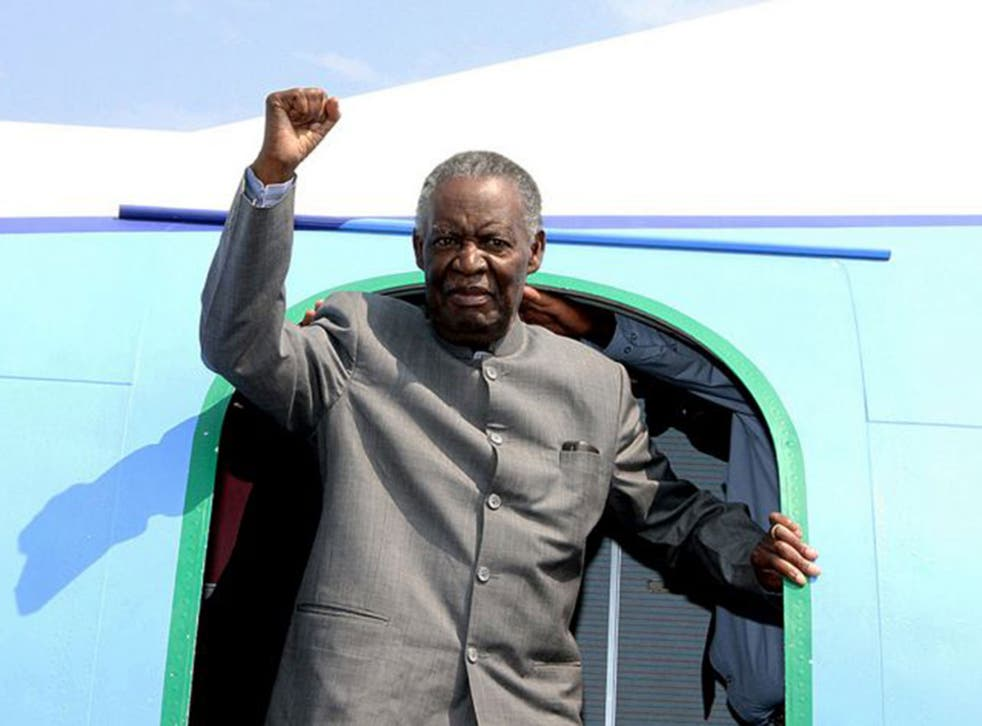 Questionable legacy: Sata arrives at Solwezi Airport, Zambia, earlier this year