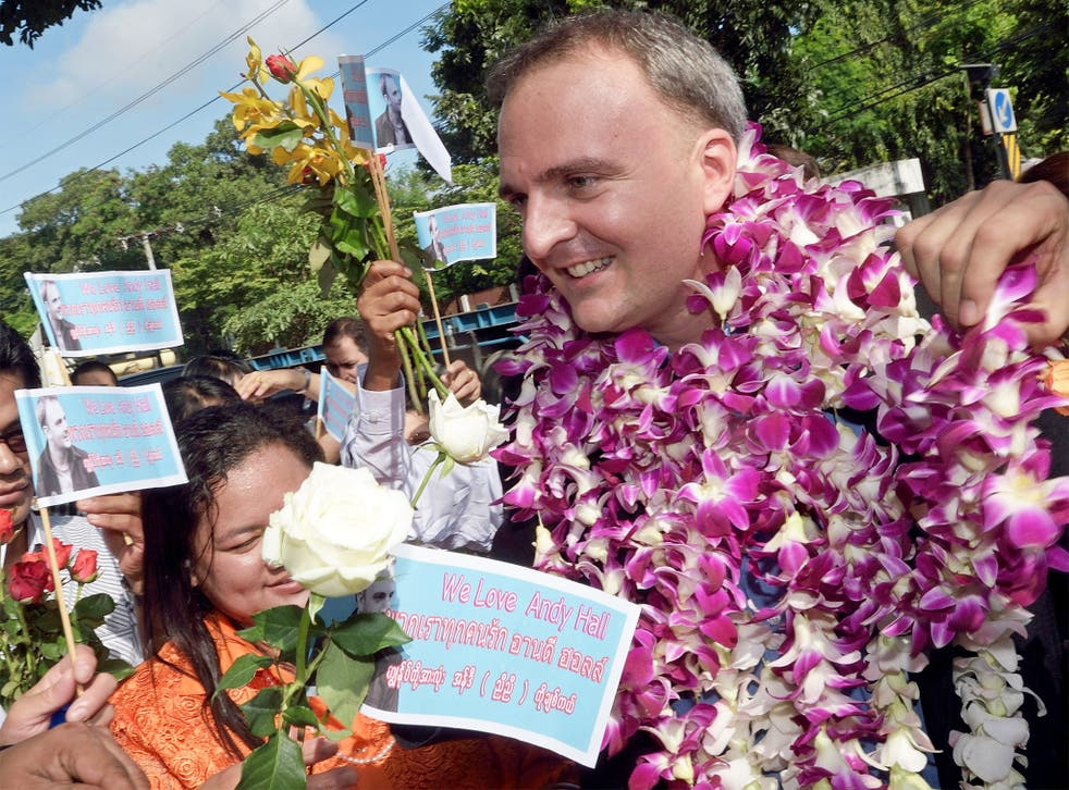 Andy Hall arrives at the court in Bangkok