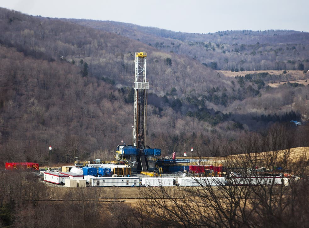A fracking drill near Montrose, Pennsylvania. High levels of benzene, formaldehyde and hydrogen sulphide were found at fracking sites in the US