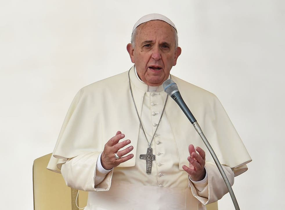 Pope Francis speaks during his general audience at St Peter's square