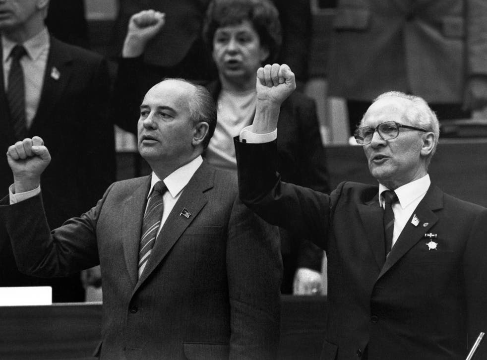 In his book 'Pilgrim Spy,' Tom Shore says he thwarted a plot to assassinate Mikhail Gorbachev (left) when he met Erich Honecker (right) in 1989