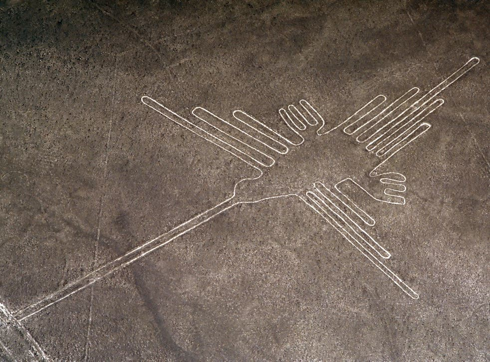 PERU NAZCA LINES AERIAL OF THE DRAWING OF A HUMMINGBIRD