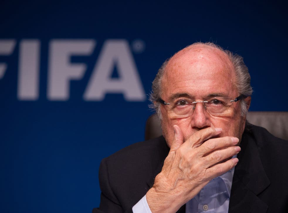 Fifa president Sepp Blatter at the launch of the 2018 World Cup logo