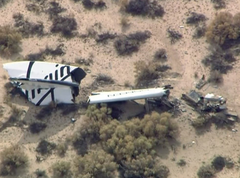 Wreckage from Virgin Galactic's SpaceShipTwo