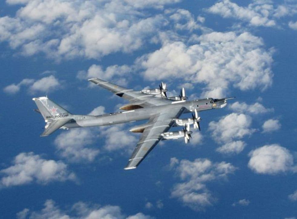 A Russian Bear 'H' aircraft photographed from an intercepting RAF Typhoon near UK airspace