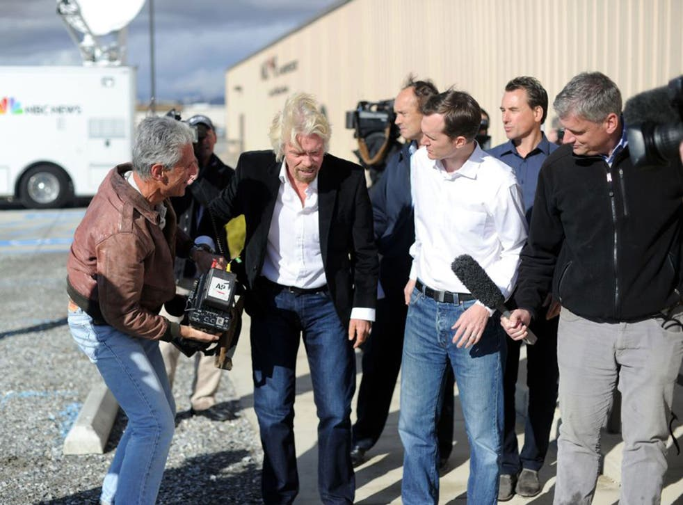 Richard Branson flew into Mojave late on Friday night to assess the wreckage of Virgin Galactic's flagship spacecraft