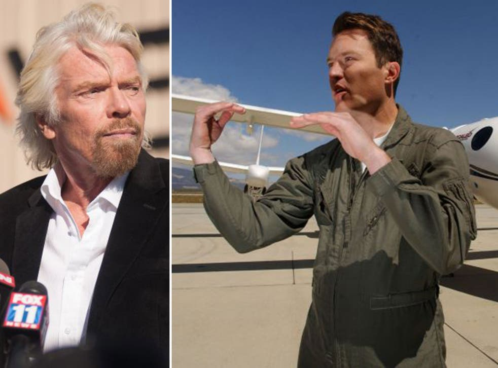 Virgin CEO, Richard Branson, left, and Michael Alsbury, the pilot who died when SpaceShipTwo crashed
