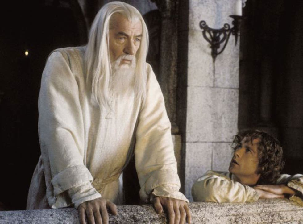 Sir Ian McKellen as Gandalf in the film adaptation of JRR Tolkien's The Lord of the Rings trilogy