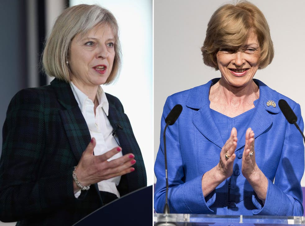 Theresa May, left, and Fiona Woolf