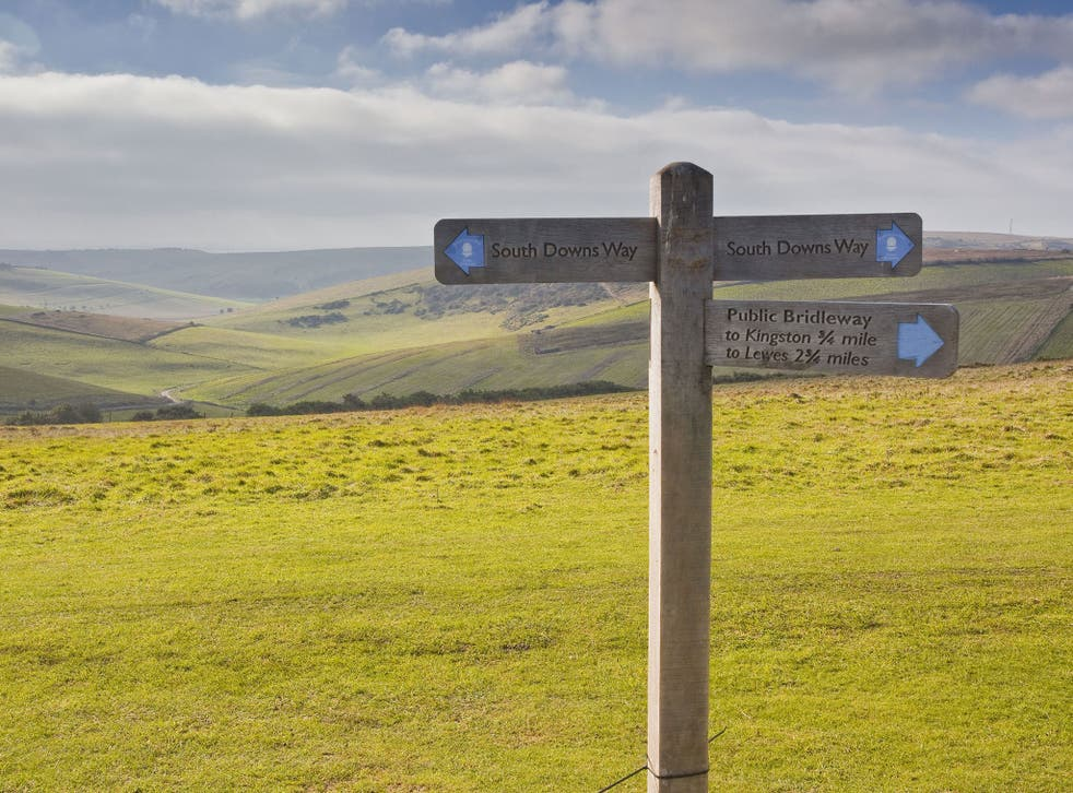 The rolling hills of the South Downs National Park near to Brighton, Sussex. Residents of the South Downs National Park have accused the Government of attempting to drive through road development proposals in sensitive areas along the South Coast without