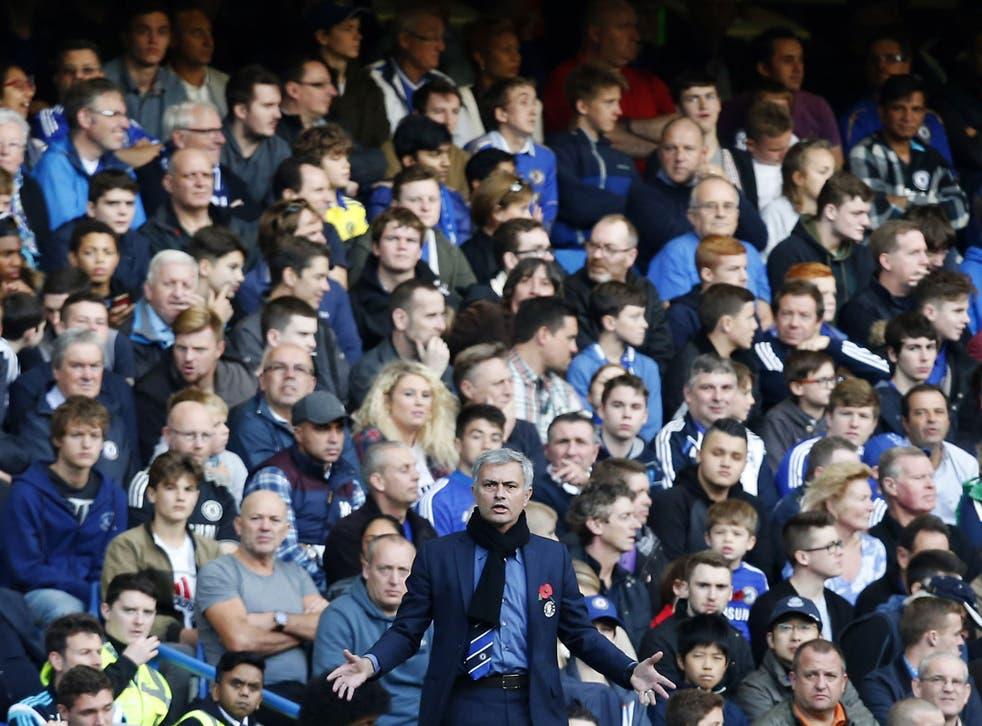 Jose Mourinho in front of the Chelsea fans