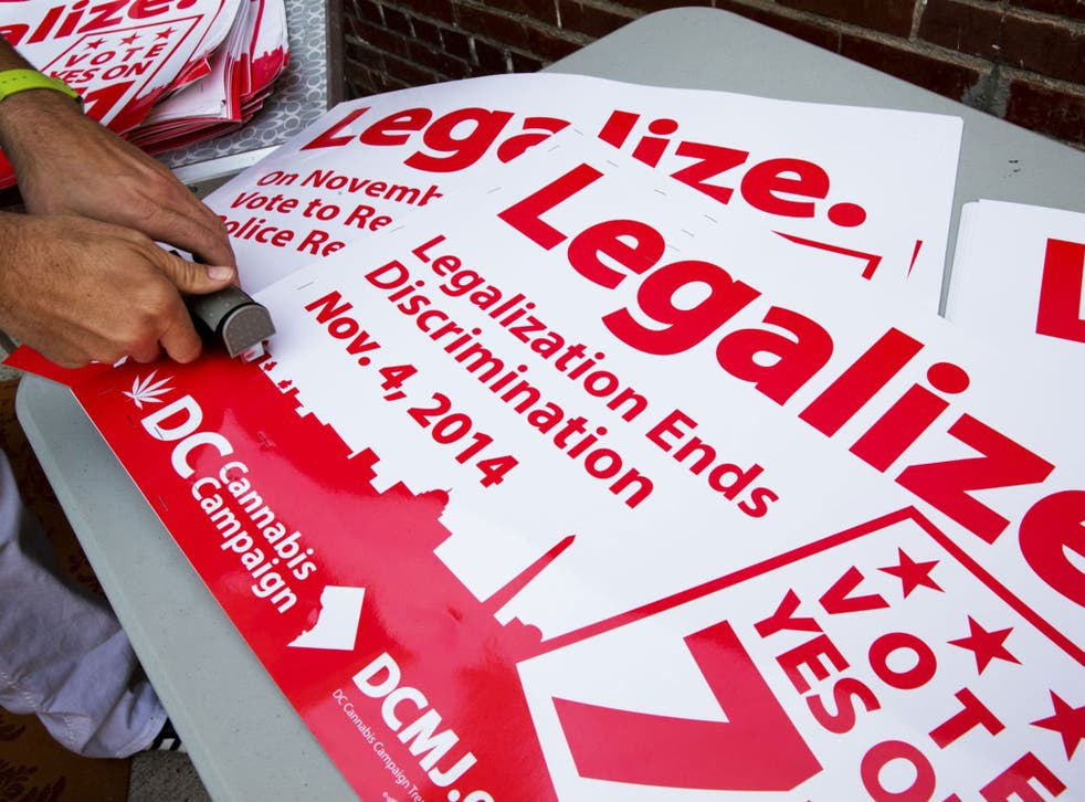 Marijuana campaigners in DC get signs ready ahead of vote