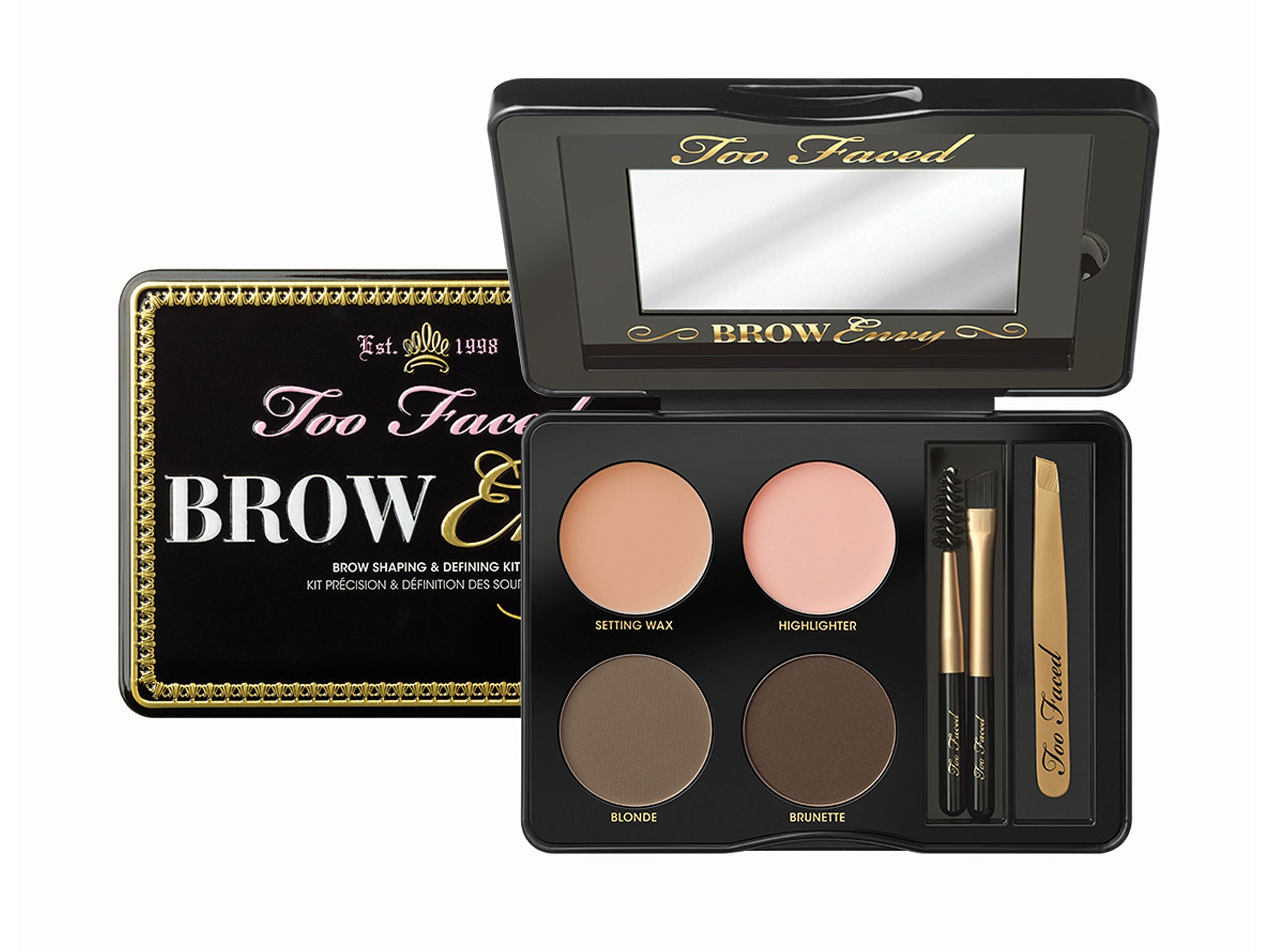 309078d5ceb This deluxe kit is packed with all the brow knowledge you need; blonde and  brunette shades, a highlighter and setting wax, a brush, comb and mini gold  ...