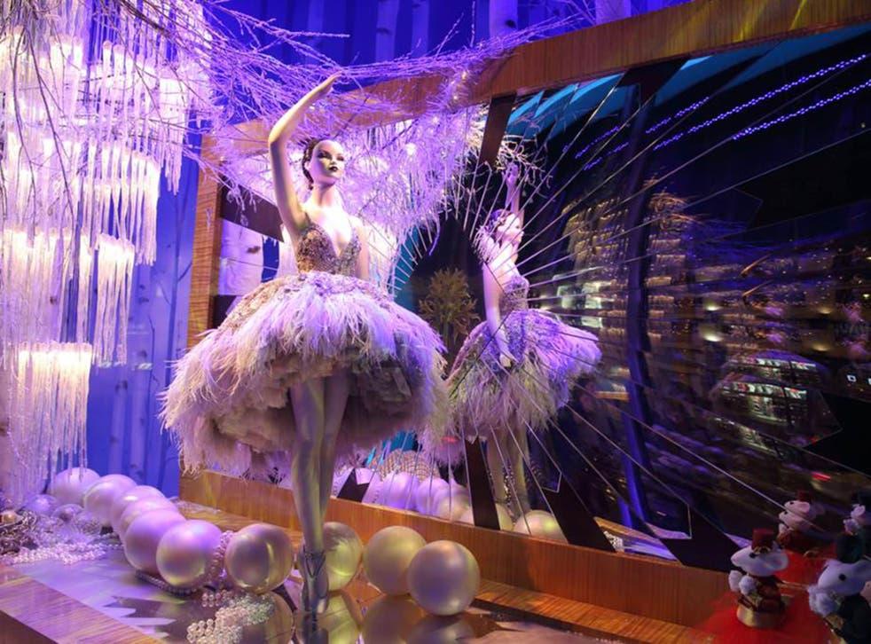 Harrods' Christmas' window display features a ballerina wearing a bespoke hand-embellished dress created by Lebanese fashion designer Zuhair Murad