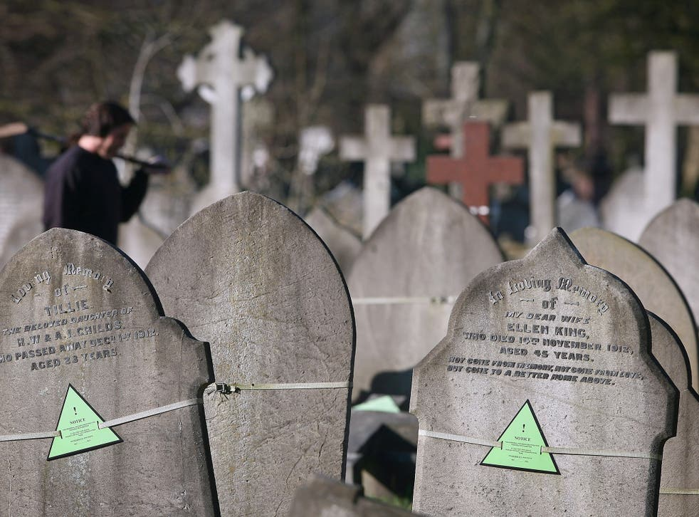 Graves are marked for possible reclamation in London City Cemetery