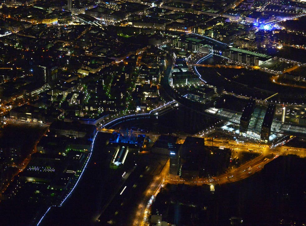 The Lichtgrenze (Light Border) installation seen from above Berlin