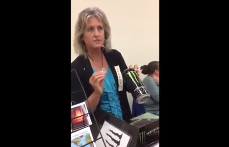Monster Is Satans Energy Drink Christian Woman Strains To Argue