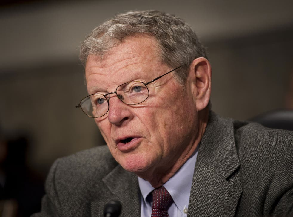 Senator Jim Inhofe believes God will determine the Earth's climate, not human beings