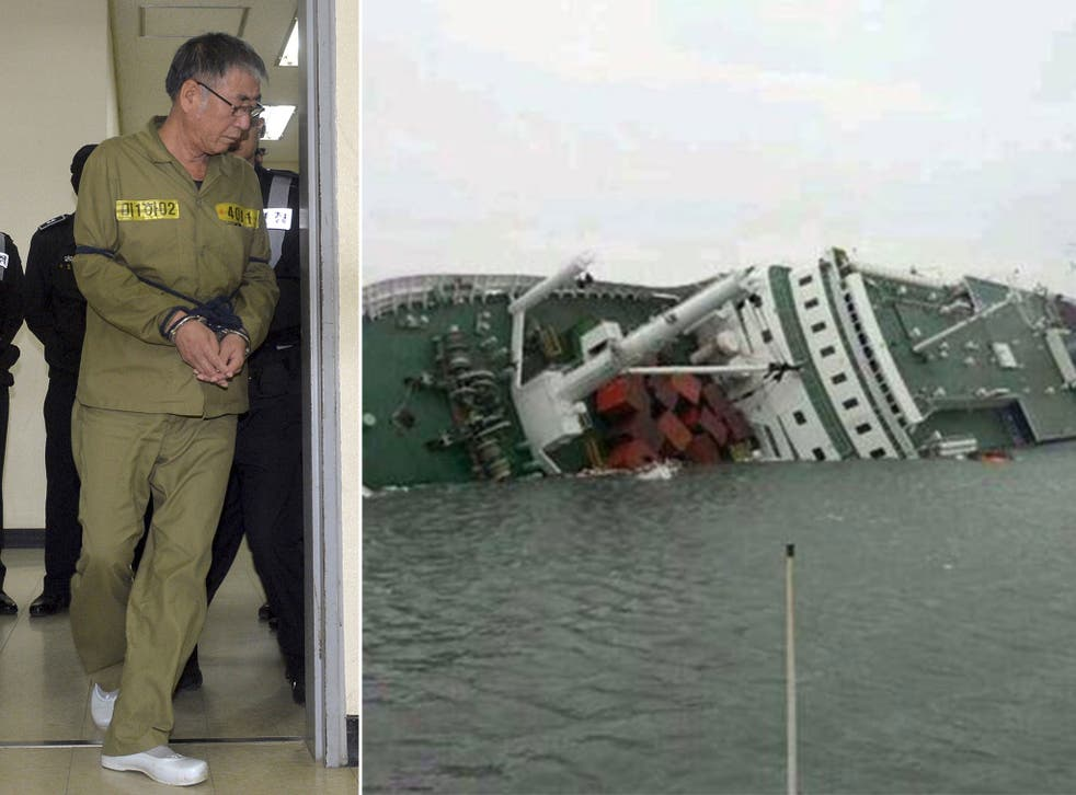 Lee Joon-seok in the South Korean court and the MV Sewol during its sinking