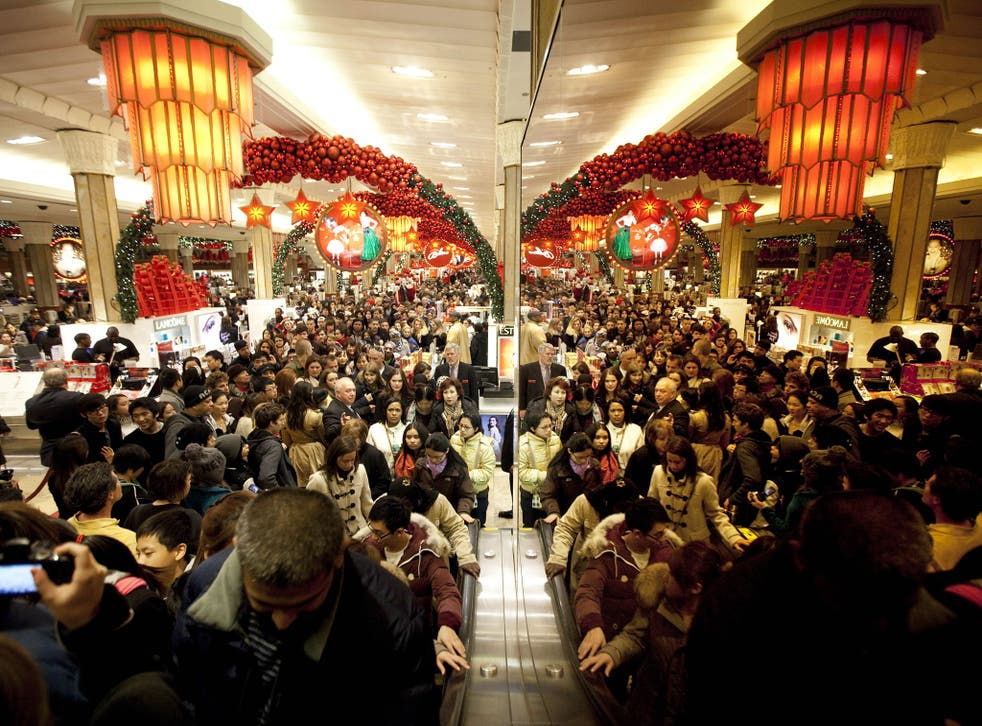 Black Friday shoppers at Macy's in New York City on 25 November, 2011